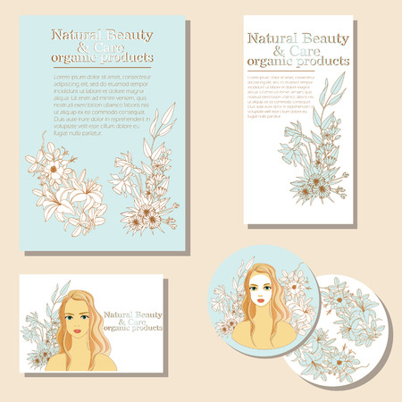 Natural Beauty and Care. organic products. vector illustration for your design 向量圖像