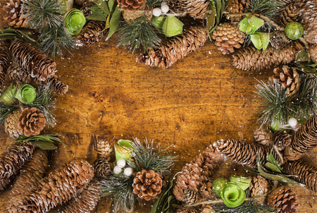 cristmas card: Border, frame from christmas tree branches.