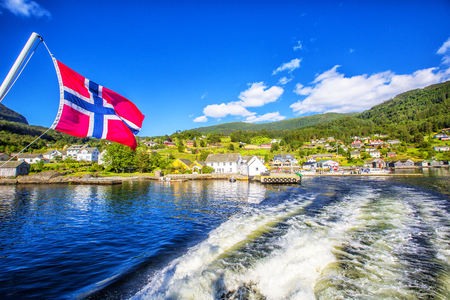 Norway shore with view. Hardanger Fiord. Norway. Reklamní fotografie