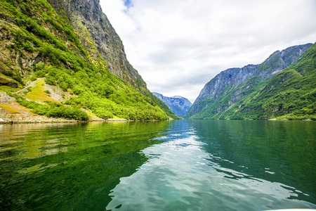 neroyfjord: Fjords in Norway and Scandinavian nature. Neroyfjord is the narrowest fjord in Norway.