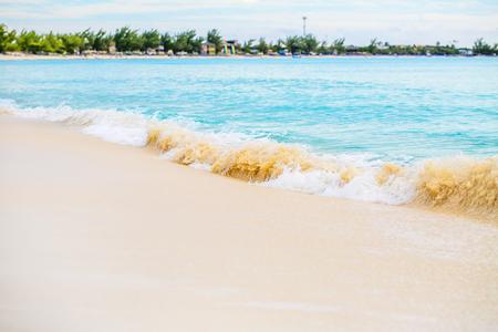 uninhabited: The view of a beach  on uninhabited island Half Moon Cay (The Bahamas). Stock Photo