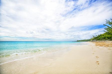 cay: The view of a beach  on uninhabited island Half Moon Cay (The Bahamas). Stock Photo