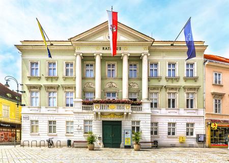 hauptplatz: BADEN, AUSTRIA - JUNE 26, 2016: City Hall (Rathaus) on Hauptplatz in Baden bei Wien, Austria. Editorial