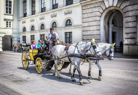 residenz: VIENNA, AUSTRIA - JUNE 24, 2016: People have a ride in the fiaker and pass the Hofburg  in Vienna. The fiaker first was build in the 18 century in the street Rue de Saint Fiacre.