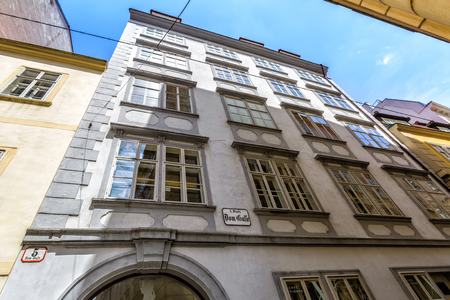 VIENNA, AUSTRIA - JUNE 25, 2016: Mozarthaus in Vienna. Mozarts apartment is the centrepiece of Mozarthaus. Mozart and his family lived there from 1784 to 1787. Editorial