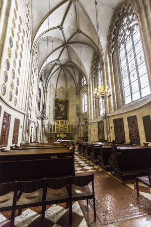 VIENNA, AUSTRIA - JUNE 25, 2016: Interior of the Church of the Teutonic Order (Deutschordenskirche), also known as the Church of Saint Elisabeth of Hungary. It was built in the 14th century. Vienna.
