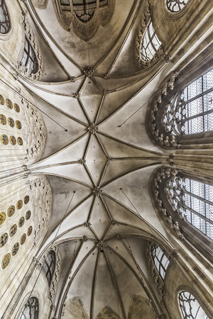 VIENNA, AUSTRIA - JUNE 25, 2016: Gothic ceiling of the Church of the Teutonic Order (Deutschordenskirche), also known as the Church of Saint Elisabeth of Hungary. It was built in the 14th century. Vienna.