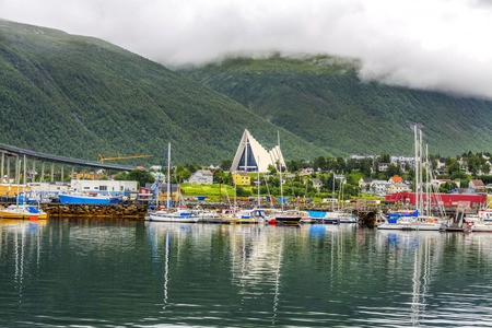 Arctic cathedral in Tromso city in northern Norway. Tromso is considered the northernmost city in the world with a population above 50,000. Stock Photo