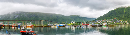 Panoramic View of a marina in Tromso, North Norway. Tromso is considered the northernmost city in the world with a population above 50,000.