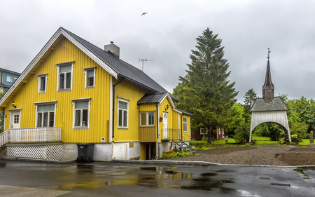 View of typical norwegian houses in Sortland. Sortland is a town and municipality in Nordland county, Norway.