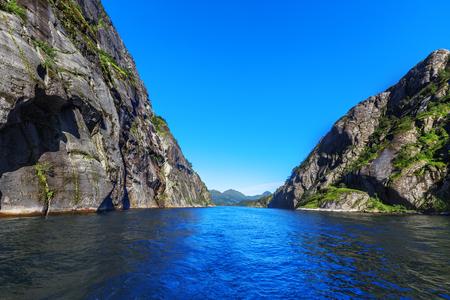 Mountains landscape on the  Trollfjord (Trollfjorden) in the Lofoten Islands, Norway. Reklamní fotografie