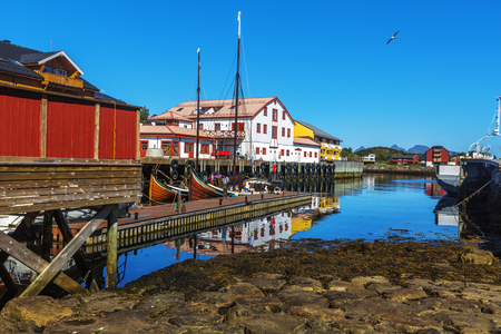 Scenic view of the waterfront harbor in Svolvaer in summer. Svolvaer is a fishing village and tourist town located on Austvagoya in the Lofoten Islands. Norway. Reklamní fotografie