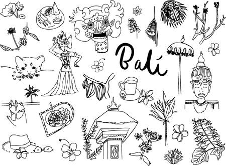 Bali doodle set vector, illustration