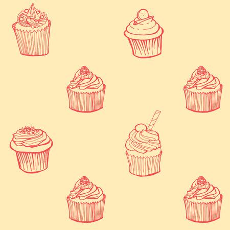 raspberry pink: Cupcake seamless pattern