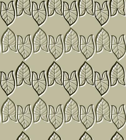 seamless: Leaf Seamless Pattern; white line Illustration