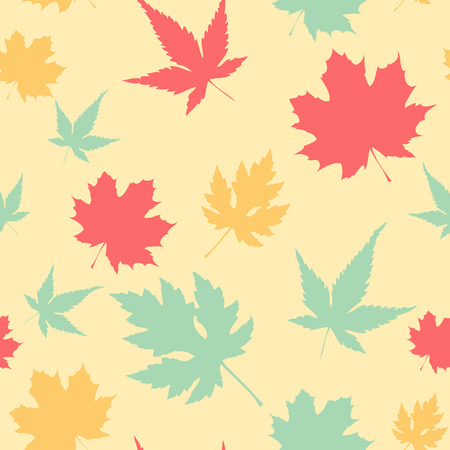 Seamless colorful maple leaf pattern