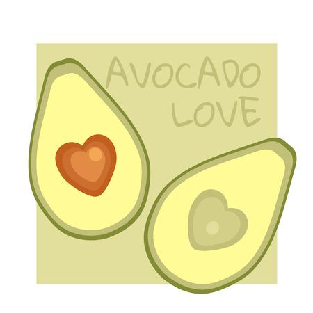 Avocado love vegetarian vector banner Illustration