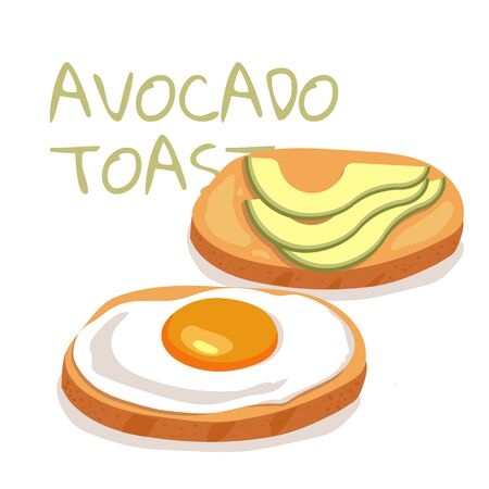 Illustration of simple avocado toasts breakfast on white background. can be used for cards and posters or other your designs ideas