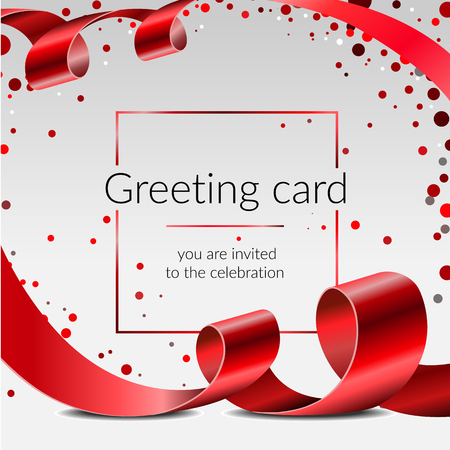 Celebration greeting card vector banner template with red ribbon and confetti on white background, frame for text Standard-Bild - 133461853