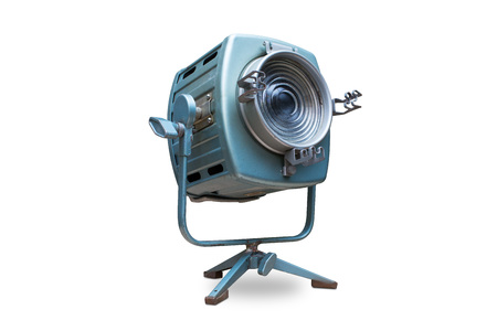 included: Studio spotlight lighting equipment with stand. Electrical source of constant light, cyan color, used with traces of use and rust, halogen bulb. Isolated on white background, clipping path included.