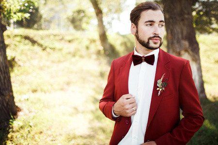 man in tuxedo: Stylish groom in tuxedo looking away suit marsala red, burgundy bow tie. Man stick to the edge of his jacket, outdoors. Professional hairstyle, beard, mustache. Wedding preparations, getting ready. Copy space for text. Celebration.