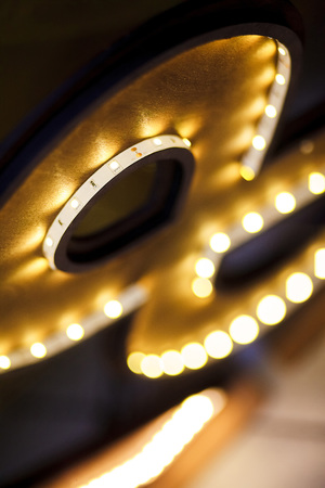lumens: LED strip in a wooden frame, shallow depth of field Stock Photo