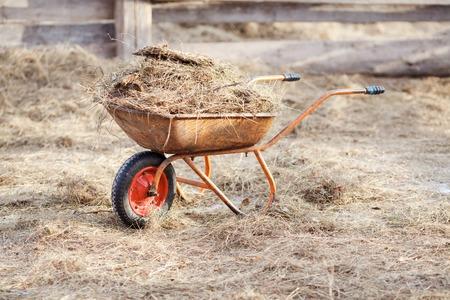 Carretilla con estiércol y heno en el medio del paddock
