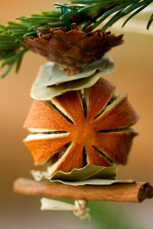 Christmas Tree Ornament Made From Dried Fruit, Spices and Plants Stock Photo