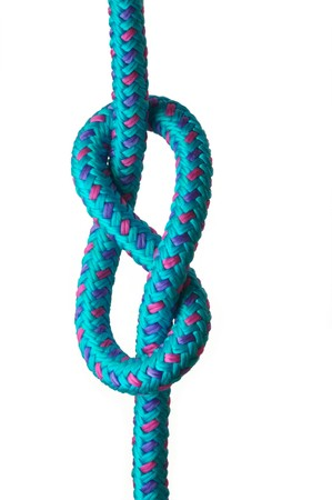 Figure of eight knot on a blue rope with pink and purple highlights, isolated on a white background Stock Photo
