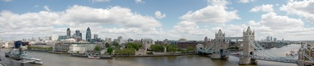 Panorama with Tower Bridge, Tower of London, City of London and HMS Belfast