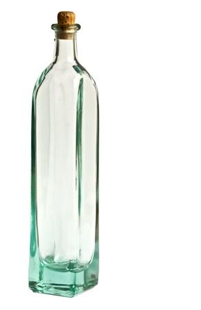 Vuotare antiquata medicina bottiglia di vetro con tappo in sughero isolato su uno sfondo bianco
