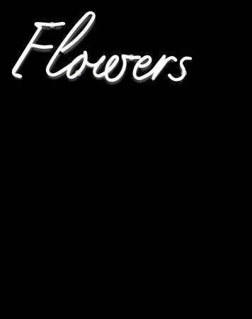Flowers sign in white neon on a black background Standard-Bild