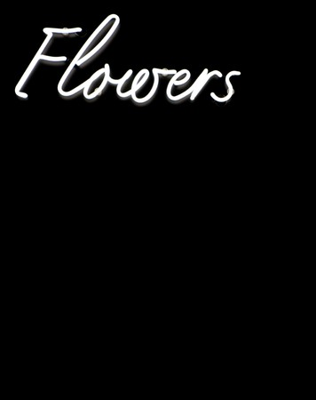 Flowers sign in white neon on a black background Stock Photo