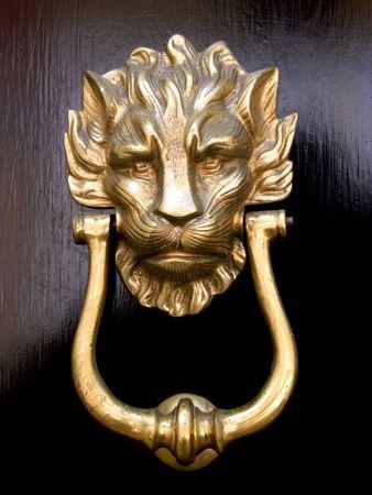 A brass door knocker in the shape of a lion's head on a black wooden door