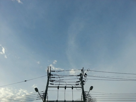 wire: Electricity with blue sky background