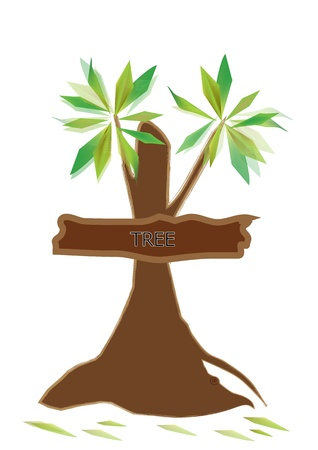Tree with signs attached to the stem on a white background. Stock Vector - 21428672