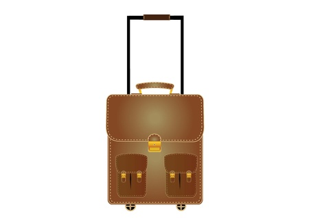 Brown suitcase with wheels in larger shapes. Vector