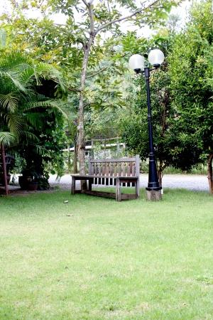 The long benches, trees, lawn wangklang shady photo