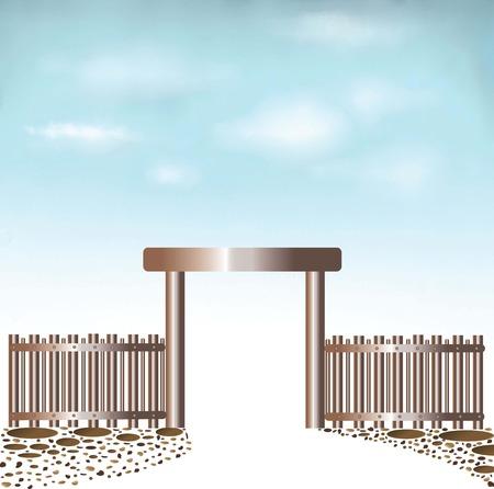 abandono: Fondo entrada Puertas cielo cerrada y piedra multicolor Vectores