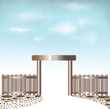 abandonment: Gated entrance Doors sky background and multicolored stone