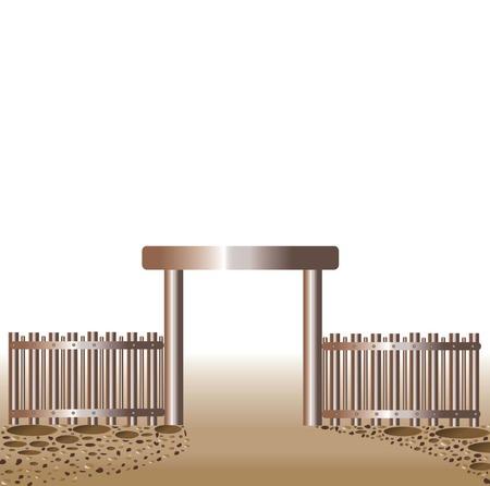 abandono: vector de la forma de una cerca, ilustraci�n creativa