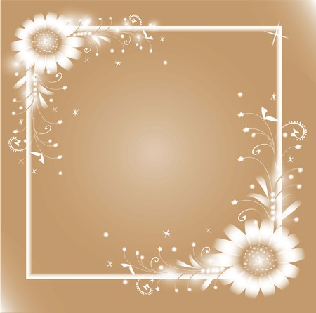 Frame with leaves, stems and white flowers. Vector