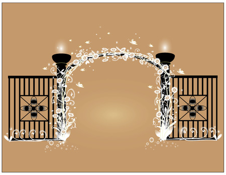 pealing: Create a solid black mesh fences with flowering vines white shroud.