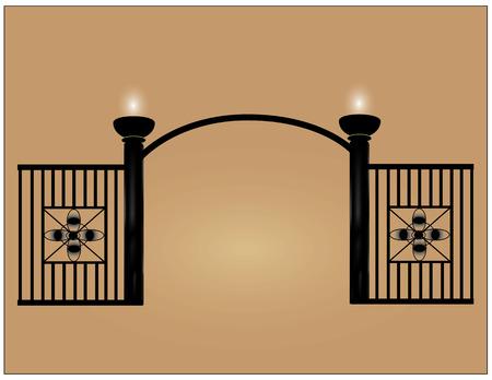 fencepost: Black steel mesh fence For home decor or park.