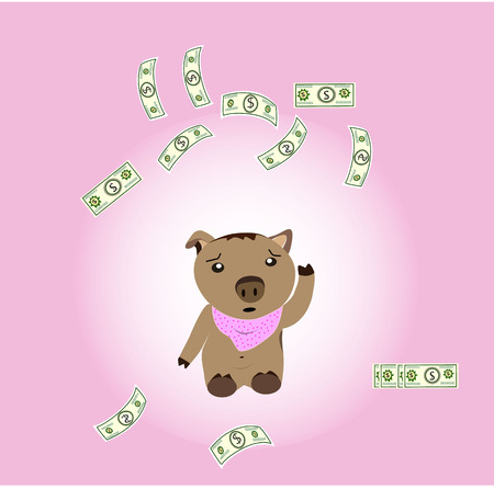 exert: Piggy is thinking about finances. Illustration