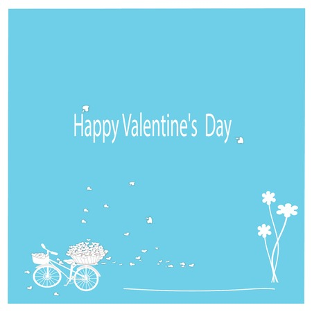 Blue and white Valentine card with heart cargo bike. photo