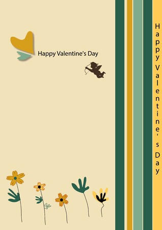 Cupid ticket for a beige background. photo