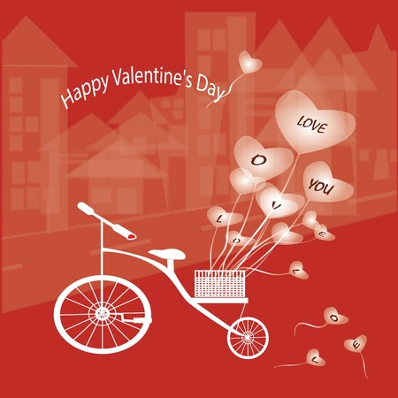 eart: Valentines card with hearts on a bike. Stock Photo