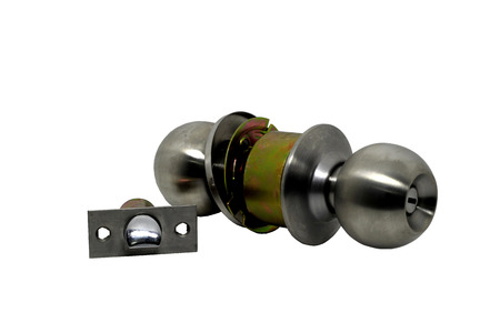 Door Knob assembly with bolts and keys on White Background photo
