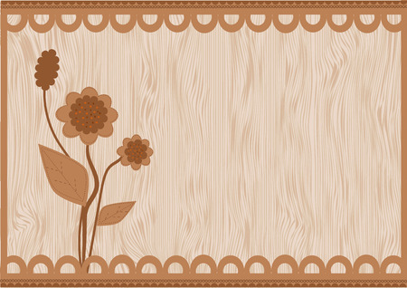 brown: Card with brown floral background. Illustration